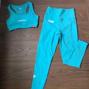 Bright blue workout set